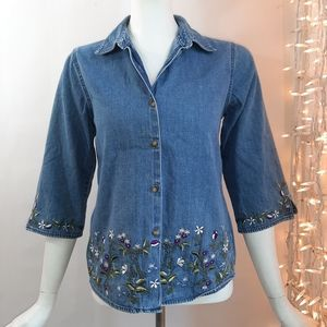 3/$18 Style & Co Top Denim Embroidery Button